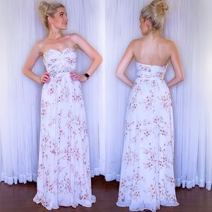 White Floral Bridesmaid Wedding Prom Pageant Dress